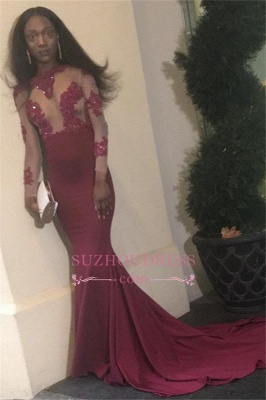 New arrival Long-Sleeves Prom Dress | Open  Back Sheath Appliques Evening dress_2