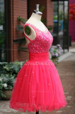 Peachblow Prom Dresses Scoop Beading Crystal Ruched A Line Sleeveless Zipper Organza Short Evening Gowns_2