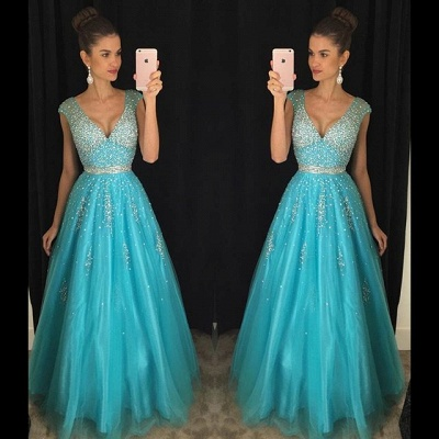 Backless Blue Sequins Prom Dresses  Sleeveless Tulle Long Evening Dress_3