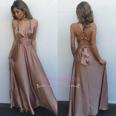 V-Neck Floor-Length   Evening Gown Gorgeous Long Sleeveless Prom Dress BA4071_1