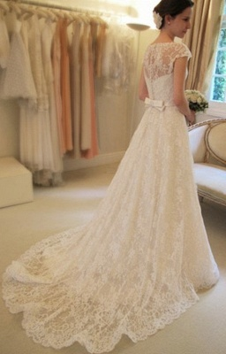 A-Line Short Sleeve Court Train Wedding Dress New Arrival Bowknot Custom Made Bridal Gown_2