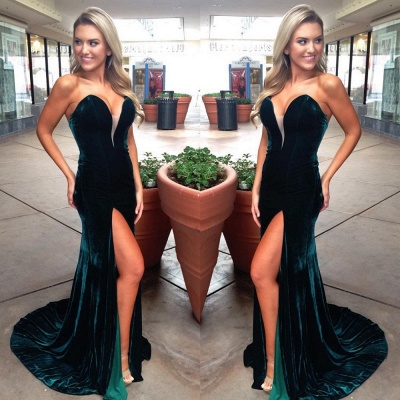 Simple Dark Green Velvet Strapless Prom Dresses  Mermaid Side Slit Prom Dresses_3