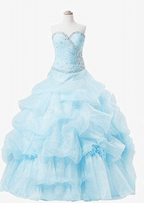 Elegant Sweetheart Crystal Ball Gown Quinceanera Dress Floor Length Tiered Custom Made Dresses with Beadings_1