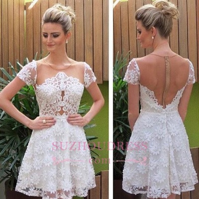 Short Sleeves Lace Homecoming Dress  Short Little Party Dress_1