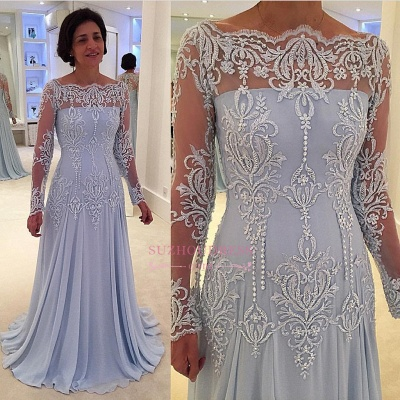 Lace Long-Sleeve Elegant A-line Mother-the-bride Dress_1