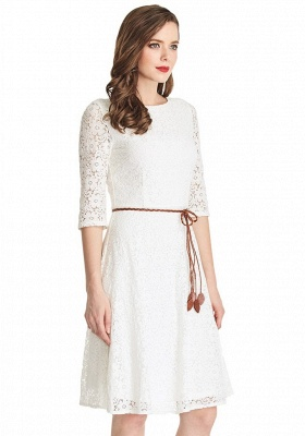 A-Line White Half Sleeve Summer Dresses Lace Knee Length Short Homecoming Gowns_4