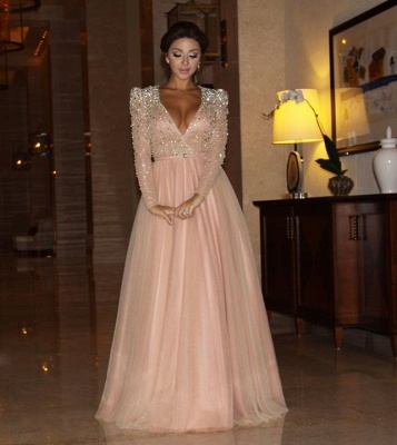 A-line Plunging Neckline Crystal Prom Dress Long Sleeve Beading Floor Length Evening Gown_3