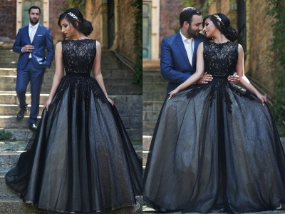 A-Line Popular Black Lace Long Prom Dress New Arrival Custom Made Formal Occasion Dresses MH028_3