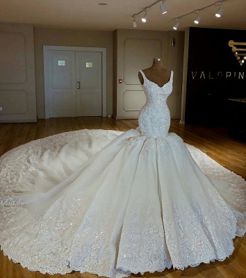 Stylish Mermaid Beading Lace Straps Appliques Wedding Dresses | Bridal Gowns On Sale_1