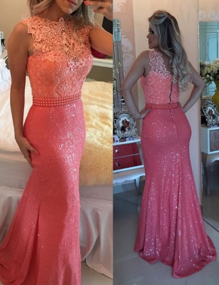 Elegant Sequined Lace Evening Dresses | Sleeveless Sheath Prom Dresses with Beaings_1
