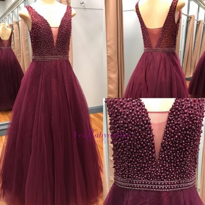 Luxury Sleeveless Beaded Pearls A-Line V-Neck Prom Dresses_3