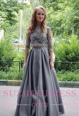 Long Scoop Hlaf sleeves  Formal Evening Dress Floor Length Elegant Gray Lace Two Pieces Prom Dress_3