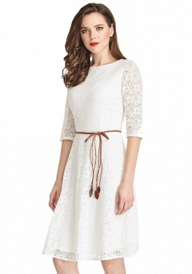 A-Line White Half Sleeve Summer Dresses Lace Knee Length Short Homecoming Gowns_5