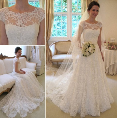 A-Line Short Sleeve Court Train Wedding Dress New Arrival Bowknot Custom Made Bridal Gown_3