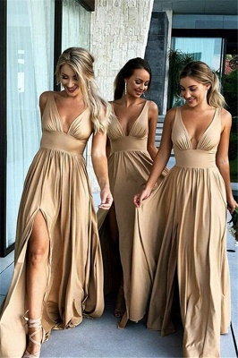 Sexy V-Neck Sleeveless Bridesmaid Dresses  | Simple Side Slit  Bridesmaid Dress_1