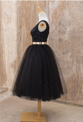 Black One Shoulder Tea Length Prom Dress with Gold Belt Latest Tulle Simple Homeccoming Dress_2