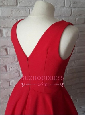 Red A-line Short Simple Straps Sleeveless Homecoming Dress_4