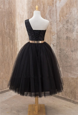 Black One Shoulder Tea Length Prom Dress with Gold Belt Latest Tulle Simple Homeccoming Dress_3
