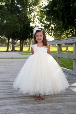 One Shoulder Ball Gown Children Dress with Flowers New Arrival Tulle  Girl Dresses_1