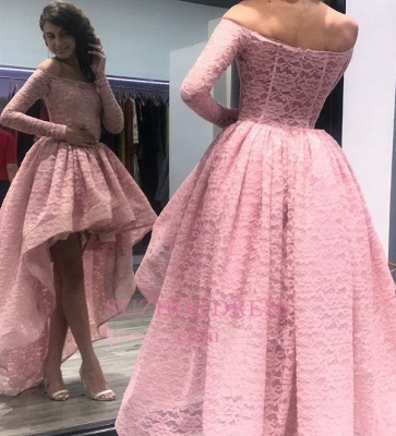 Pink Off Shoulder Zipper Hi-Lo Evening Dresses    Long-Sleeves Prom Dress_1