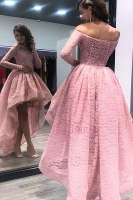 Pink Off Shoulder Zipper Hi-Lo Evening Dresses    Long-Sleeves Prom Dress_3