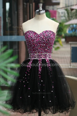 Black Prom Dresses Sweetheart Crystal Ruched A Line Sleeveless Lace Up Organza Short Evening Gowns BA7306_6