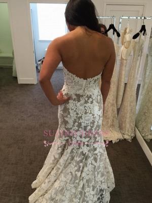 A-line Lace Elegant Sweetheart White Wedding Dresses_4