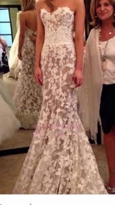 A-line Lace Elegant Sweetheart White Wedding Dresses_5