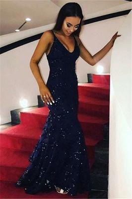 Sexy Dark Navy V-Neck Mermaid Evening Dresses Sleeveless Sequins Party Dresses_1