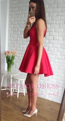 Red A-line Short Simple Straps Sleeveless Homecoming Dress_5
