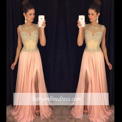 A-line Front-Split Gorgeous Sleeveless Beads Chiffon Prom Dress_1