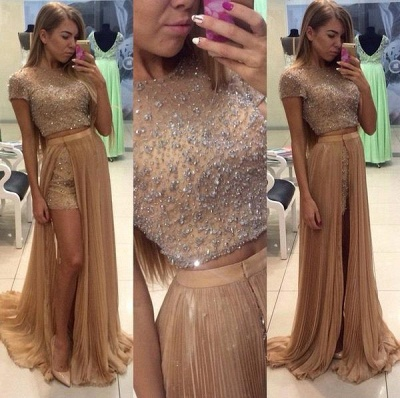 Latest Short Sleeve Beading Evening Gown Two Piece Crystal Prom Dress with Detachable Train_3