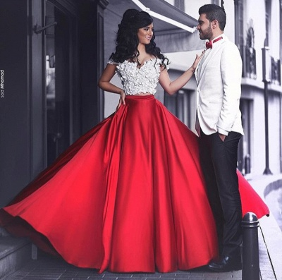 White and Red Two Piece Prom Dress  Off-the-shoulder Sexy Long Evening Dress MH057_3