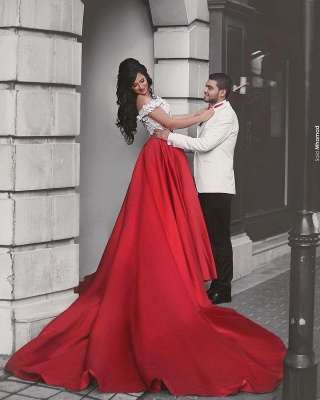 White and Red Two Piece Prom Dress  Off-the-shoulder Sexy Long Evening Dress MH057_4