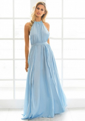 Halter Chiffon Summer Beach Party Dresses Backless Slit Long Evening Gowns_5