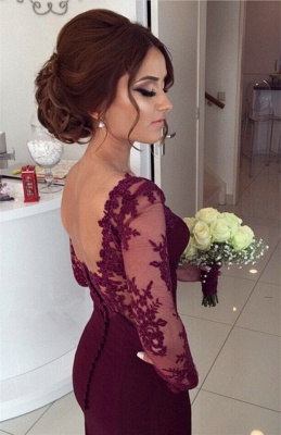 Burgundy Backless Prom Dress  Mermaid Lace Sleeved Evening Gowns CE009_3