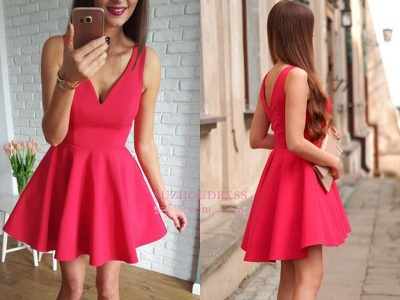 Red A-line Short Simple Straps Sleeveless Homecoming Dress_1