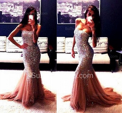 Stunning Evening Dresses Strapless Mermaid Tulle Sleeveless Crystals Sweep Train Prom Gowns_2