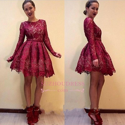 Short Elegant Long-Sleeves Burgundy A-line Lace Homecoming Dresses_1
