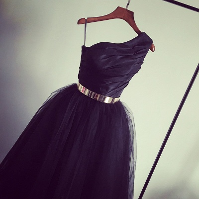 Black One Shoulder Tea Length Prom Dress with Gold Belt Latest Tulle Simple Homeccoming Dress_4