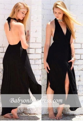 Black Sleeveless Halter Backless Sexy Front-Split Prom Dress_1
