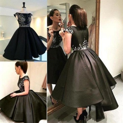 Classic Black Evening Dresses  Silver Sequins Hi-lo  Prom Gowns BA3510_4