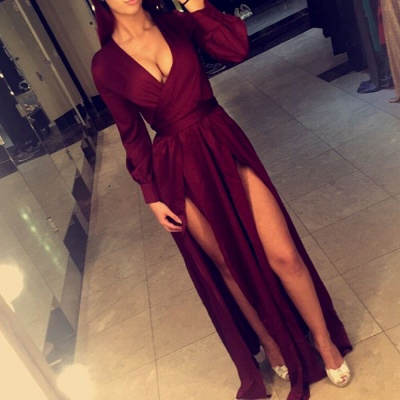 Deep V-neck Burgundy Evening Dresses  Long Sleeve Sexy Prom Gowns with Splits CE0060_3