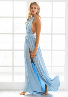 Halter Chiffon Summer Beach Party Dresses Backless Slit Long Evening Gowns_4