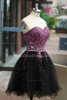 Black Prom Dresses Sweetheart Crystal Ruched A Line Sleeveless Lace Up Organza Short Evening Gowns BA7306_7