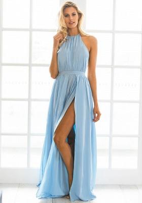 Halter Chiffon Summer Beach Party Dresses Backless Slit Long Evening Gowns_1