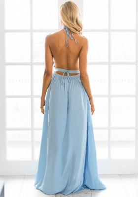 Halter Chiffon Summer Beach Party Dresses Backless Slit Long Evening Gowns_3