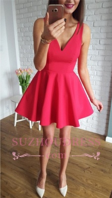 Red A-line Short Simple Straps Sleeveless Homecoming Dress_2