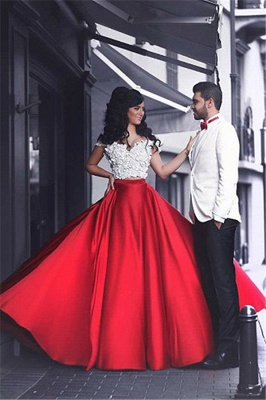 White and Red Two Piece Prom Dress  Off-the-shoulder Sexy Long Evening Dress MH057_1