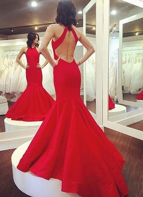 Halter Red Sexy Mermaid Party Dresses Sleeveless Open Back  Evening Gowns_1